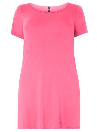 Pink Swing Tunic - neckline: round neck; pattern: plain; length: below the bottom; style: tunic; predominant colour: hot pink; occasions: casual, holiday, creative work; fibres: viscose/rayon - stretch; fit: body skimming; sleeve length: short sleeve; sleeve style: standard; pattern type: fabric; texture group: jersey - stretchy/drapey; season: s/s 2016; wardrobe: highlight