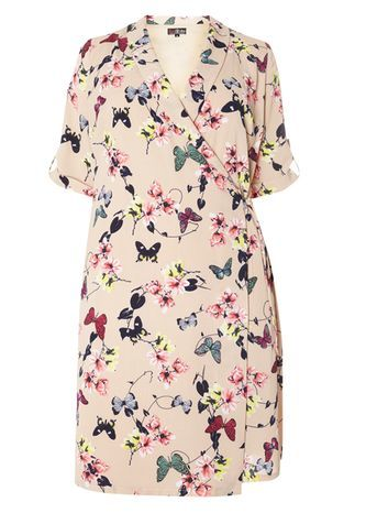 Lovedrobe Nude Butterfly Print Wrapover Dress - style: faux wrap/wrap; neckline: low v-neck; waist detail: belted waist/tie at waist/drawstring; predominant colour: blush; secondary colour: teal; occasions: casual, creative work; length: on the knee; fit: soft a-line; fibres: polyester/polyamide - 100%; sleeve length: short sleeve; sleeve style: standard; pattern type: fabric; pattern size: standard; pattern: patterned/print; texture group: woven light midweight; multicoloured: multicoloured; season: s/s 2016; wardrobe: highlight