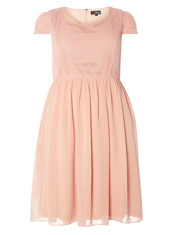 Lovedrove Peach Orange Lace Dress - neckline: round neck; sleeve style: capped; pattern: plain; style: prom dress; waist detail: fitted waist; predominant colour: nude; occasions: evening, occasion; length: just above the knee; fit: fitted at waist & bust; fibres: polyester/polyamide - 100%; hip detail: soft pleats at hip/draping at hip/flared at hip; sleeve length: short sleeve; texture group: sheer fabrics/chiffon/organza etc.; pattern type: fabric; season: s/s 2016