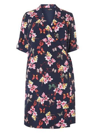 Lovedrobe Navy Butterfly Print Wrapover Dress - style: faux wrap/wrap; neckline: low v-neck; waist detail: belted waist/tie at waist/drawstring; secondary colour: hot pink; predominant colour: navy; occasions: casual, creative work; length: on the knee; fit: soft a-line; fibres: polyester/polyamide - 100%; sleeve length: half sleeve; sleeve style: standard; pattern type: fabric; pattern size: standard; pattern: florals; texture group: woven light midweight; season: s/s 2016; wardrobe: highlight