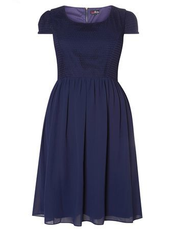 Lovedrobe Navy Lace Dress - neckline: round neck; sleeve style: capped; pattern: plain; style: prom dress; waist detail: fitted waist; predominant colour: navy; occasions: evening, occasion; length: just above the knee; fit: fitted at waist & bust; fibres: polyester/polyamide - 100%; hip detail: subtle/flattering hip detail; sleeve length: short sleeve; texture group: sheer fabrics/chiffon/organza etc.; pattern type: fabric; embellishment: lace; season: s/s 2016; wardrobe: event