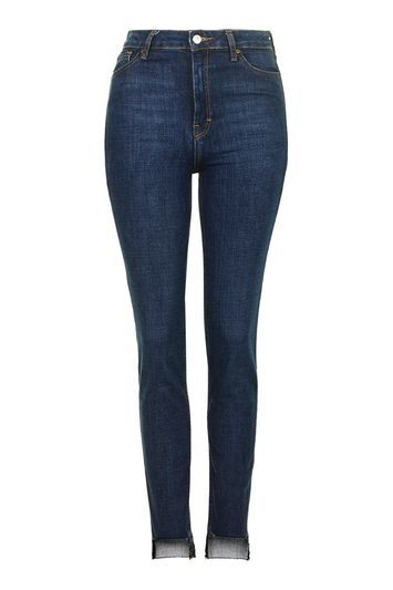 Moto Stepped Hem Orson Jeans - style: skinny leg; length: standard; pattern: plain; waist: high rise; pocket detail: traditional 5 pocket; predominant colour: navy; occasions: casual; fibres: cotton - stretch; jeans detail: whiskering, dark wash; texture group: denim; pattern type: fabric; season: s/s 2016; wardrobe: basic
