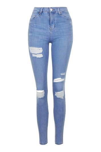 Moto Super Rip Blue Jamie Jeans - style: skinny leg; length: standard; pattern: plain; waist: high rise; pocket detail: traditional 5 pocket; predominant colour: denim; occasions: casual; fibres: cotton - stretch; texture group: denim; pattern type: fabric; jeans detail: rips; season: s/s 2016; wardrobe: basic