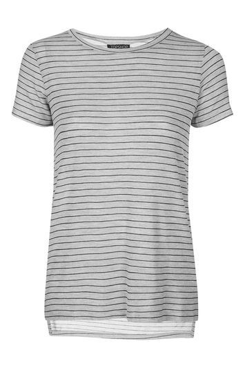 Side Split Stripe Tee - neckline: round neck; pattern: horizontal stripes; style: t-shirt; predominant colour: light grey; secondary colour: black; occasions: casual; length: standard; fibres: cotton - stretch; fit: body skimming; sleeve length: short sleeve; sleeve style: standard; pattern type: fabric; texture group: jersey - stretchy/drapey; trends: tomboy girl; season: s/s 2016; wardrobe: basic