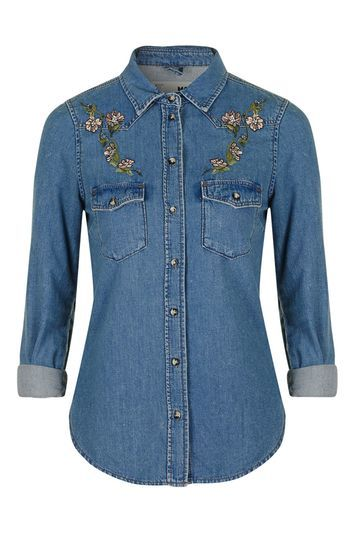 Moto Fitted Western Shirt - neckline: shirt collar/peter pan/zip with opening; pattern: plain; style: shirt; predominant colour: denim; occasions: casual; length: standard; fibres: cotton - 100%; fit: body skimming; sleeve length: 3/4 length; sleeve style: standard; texture group: denim; pattern type: fabric; embellishment: embroidered; trends: tomboy girl; season: s/s 2016; wardrobe: highlight; embellishment location: shoulder