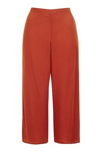 Wide Leg Textured Trousers - pattern: plain; waist: high rise; predominant colour: terracotta; length: calf length; fibres: polyester/polyamide - 100%; waist detail: narrow waistband; texture group: crepes; fit: wide leg; pattern type: fabric; style: standard; occasions: creative work; season: s/s 2016