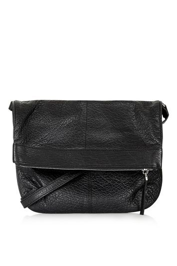 Foldover Leather Cross Body Bag - predominant colour: black; occasions: casual, creative work; type of pattern: standard; style: messenger; length: across body/long; size: standard; material: leather; pattern: plain; finish: plain; season: s/s 2016; wardrobe: basic