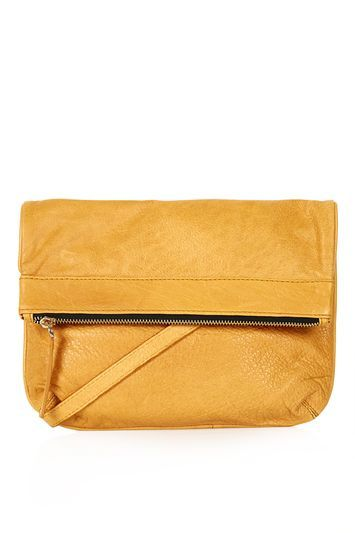 Foldover Leather Cross Body Bag - predominant colour: mustard; occasions: casual, creative work; type of pattern: standard; style: messenger; length: across body/long; size: standard; material: leather; pattern: plain; finish: plain; season: s/s 2016; wardrobe: highlight