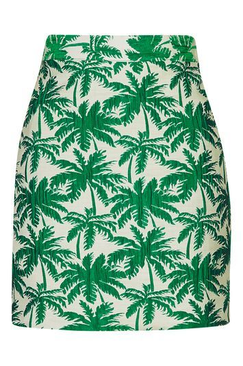 Palm Print Jacquard A Line Skirt - length: mid thigh; waist: high rise; predominant colour: emerald green; occasions: evening; style: mini skirt; fit: straight cut; pattern type: fabric; pattern: patterned/print; texture group: brocade/jacquard; fibres: viscose/rayon - mix; pattern size: standard (bottom); season: s/s 2016; wardrobe: event