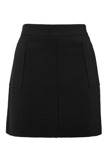 Tall Crepe Pocket Mini Skirt - length: mini; pattern: plain; fit: tailored/fitted; waist: high rise; predominant colour: black; occasions: evening, creative work; style: mini skirt; fibres: polyester/polyamide - stretch; texture group: crepes; pattern type: fabric; trends: glossy girl; season: s/s 2016; wardrobe: basic