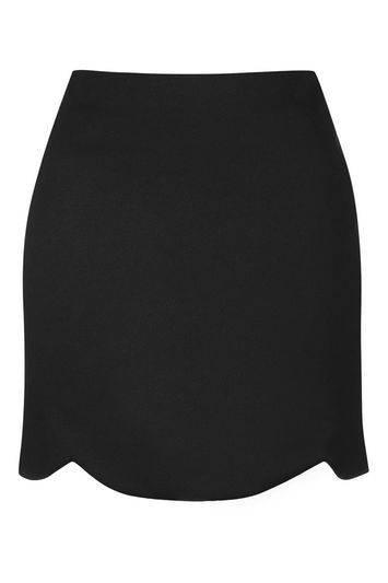 Tall Giant Scallop Mini Skirt - length: mini; pattern: plain; fit: body skimming; waist: mid/regular rise; predominant colour: black; occasions: casual, evening; style: mini skirt; fibres: viscose/rayon - stretch; pattern type: fabric; texture group: jersey - stretchy/drapey; trends: glossy girl; season: s/s 2016; wardrobe: basic