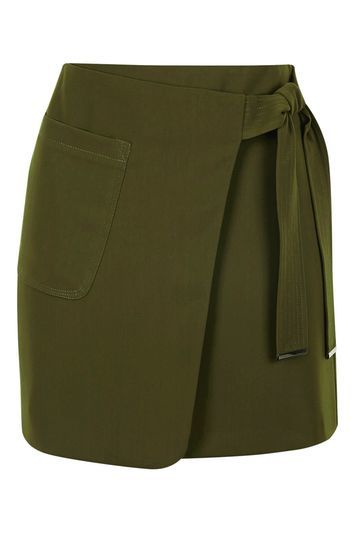 Utility Wrap Skirt - length: mini; pattern: plain; style: wrap/faux wrap; fit: tailored/fitted; waist: high rise; waist detail: belted waist/tie at waist/drawstring; predominant colour: khaki; occasions: evening, creative work; fibres: polyester/polyamide - 100%; texture group: crepes; pattern type: fabric; trends: glossy girl, military; season: s/s 2016