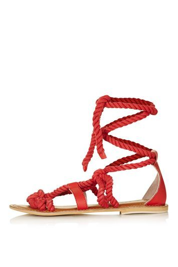 Hank Knot Sandal - predominant colour: bright orange; occasions: casual, holiday; material: fabric; heel height: flat; ankle detail: ankle tie; heel: standard; toe: open toe/peeptoe; style: strappy; finish: plain; pattern: plain; season: s/s 2016; wardrobe: highlight