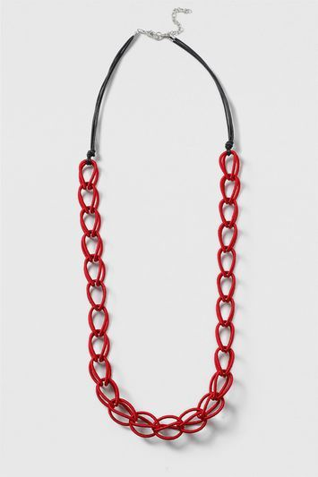 Fabric Linked Necklace - secondary colour: black; occasions: casual; length: long; size: large/oversized; finish: plain; material: faux leather; predominant colour: raspberry; style: bib/statement; season: s/s 2016
