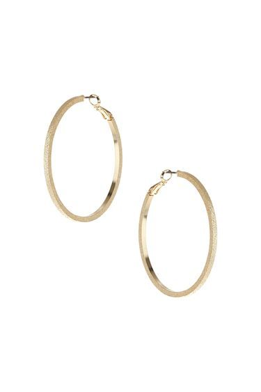 Oversized Textured Hoop Earrings - predominant colour: gold; occasions: evening, holiday, creative work; style: hoop; length: long; size: large/oversized; material: chain/metal; fastening: pierced; finish: metallic; season: s/s 2016; wardrobe: basic
