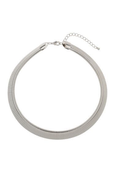 Silver Textured Necklace - predominant colour: silver; occasions: evening; style: choker/collar/torque; length: short; size: standard; material: chain/metal; finish: metallic; embellishment: chain/metal; season: s/s 2016; wardrobe: event