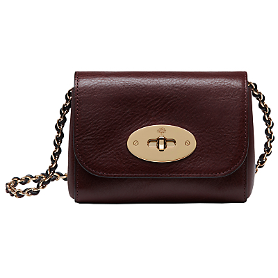 New Lily Mini Leather Shoulder Bag - predominant colour: burgundy; occasions: evening; type of pattern: standard; style: shoulder; length: across body/long; size: small; material: leather; pattern: plain; finish: plain; embellishment: chain/metal; season: s/s 2016; wardrobe: event