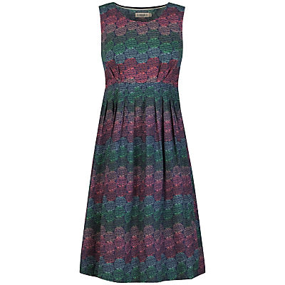 Gylly Dress, String Circles Marine - sleeve style: sleeveless; waist detail: fitted waist; secondary colour: magenta; predominant colour: emerald green; occasions: casual; length: on the knee; fit: fitted at waist & bust; style: fit & flare; fibres: cotton - 100%; neckline: crew; hip detail: structured pleats at hip; sleeve length: sleeveless; texture group: cotton feel fabrics; pattern type: fabric; pattern size: standard; pattern: patterned/print; multicoloured: multicoloured; season: s/s 2016