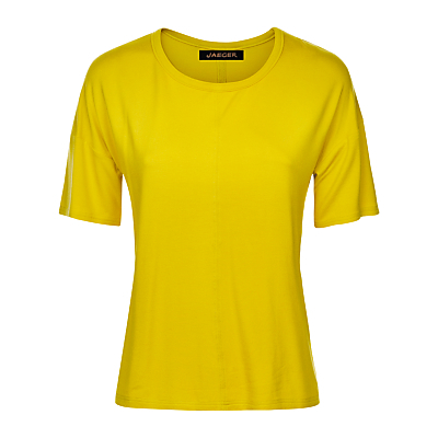 Jersey T Shirt - neckline: round neck; pattern: plain; style: t-shirt; predominant colour: yellow; occasions: casual, creative work; length: standard; fibres: viscose/rayon - stretch; fit: straight cut; sleeve length: short sleeve; sleeve style: standard; pattern type: fabric; texture group: jersey - stretchy/drapey; season: s/s 2016; wardrobe: highlight