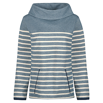 Travertine Sweatshirt, Midday Tide Galley - pattern: plain; neckline: wide roll/funnel neck; style: sweat top; secondary colour: ivory/cream; predominant colour: denim; occasions: casual, creative work; length: standard; fibres: cotton - 100%; fit: body skimming; sleeve length: long sleeve; sleeve style: standard; pattern type: fabric; texture group: jersey - stretchy/drapey; season: s/s 2016; wardrobe: highlight