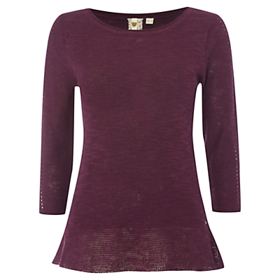 Easy Breezy Jumper, Mon Purple - neckline: round neck; pattern: plain; style: standard; predominant colour: aubergine; occasions: casual, creative work; length: standard; fibres: linen - mix; fit: standard fit; sleeve length: 3/4 length; sleeve style: standard; texture group: knits/crochet; pattern type: knitted - fine stitch; season: s/s 2016; wardrobe: highlight