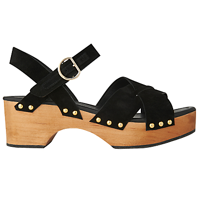 Handon Clog Sandals, Black - predominant colour: black; occasions: casual, holiday; material: fabric; heel height: mid; ankle detail: ankle strap; heel: block; toe: open toe/peeptoe; style: strappy; finish: plain; pattern: plain; shoe detail: platform; season: s/s 2016
