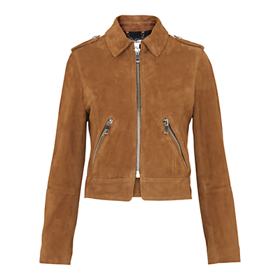Suede Brooke Biker Jacket, Tan - pattern: plain; style: biker; shoulder detail: obvious epaulette; collar: standard biker; predominant colour: tan; occasions: casual, creative work; length: standard; fit: tailored/fitted; fibres: leather - 100%; sleeve length: long sleeve; sleeve style: standard; collar break: high/illusion of break when open; pattern type: fabric; texture group: suede; season: s/s 2016; wardrobe: highlight