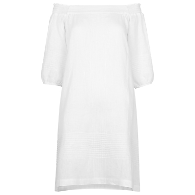 Lila Bardot Linen Dress, White - neckline: off the shoulder; fit: loose; pattern: plain; style: sundress; sleeve style: balloon; predominant colour: white; occasions: casual, holiday; length: on the knee; fibres: linen - 100%; sleeve length: 3/4 length; texture group: linen; pattern type: fabric; season: s/s 2016; wardrobe: highlight