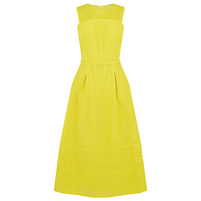 Formed Linear Prom Dress - length: below the knee; sleeve style: sleeveless; style: prom dress; waist detail: fitted waist; predominant colour: yellow; occasions: evening, occasion; fit: fitted at waist & bust; fibres: polyester/polyamide - 100%; neckline: crew; hip detail: adds bulk at the hips; sleeve length: sleeveless; texture group: lace; pattern type: fabric; pattern: patterned/print; season: s/s 2016; wardrobe: event