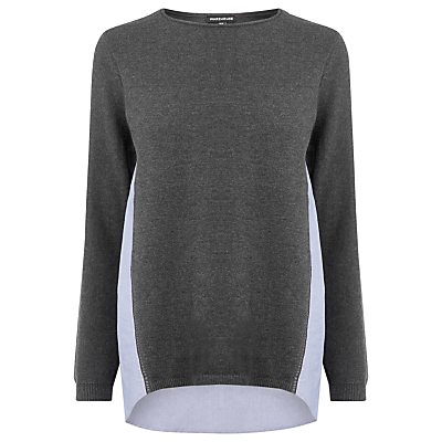 Cotton Mix Hybrid Jumper - pattern: plain; length: below the bottom; style: standard; secondary colour: lilac; predominant colour: mid grey; occasions: casual, creative work; fibres: acrylic - mix; fit: standard fit; neckline: crew; sleeve length: long sleeve; sleeve style: standard; texture group: knits/crochet; pattern type: knitted - fine stitch; season: s/s 2016