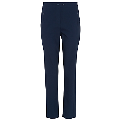 Eva Skinny High Waist Trousers, Navy - pattern: plain; waist: mid/regular rise; predominant colour: navy; length: ankle length; fibres: cotton - mix; waist detail: narrow waistband; texture group: cotton feel fabrics; fit: straight leg; pattern type: fabric; style: standard; occasions: creative work; season: s/s 2016; wardrobe: basic