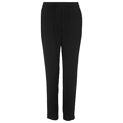 Elyse Crepe Trousers, Black - length: standard; pattern: plain; waist: mid/regular rise; predominant colour: black; fibres: polyester/polyamide - 100%; waist detail: feature waist detail; texture group: crepes; fit: slim leg; pattern type: fabric; style: standard; occasions: creative work; season: s/s 2016; wardrobe: basic
