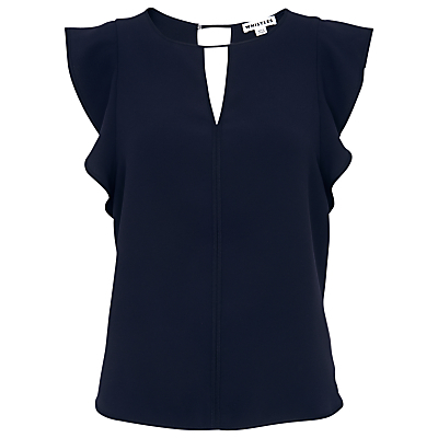 Imelda Fluted Sleeve Top, Navy - sleeve style: angel/waterfall; pattern: plain; predominant colour: navy; occasions: evening, creative work; length: standard; style: top; neckline: peep hole neckline; fibres: polyester/polyamide - 100%; fit: body skimming; back detail: keyhole/peephole detail at back; sleeve length: short sleeve; pattern type: fabric; texture group: other - light to midweight; season: s/s 2016; wardrobe: basic