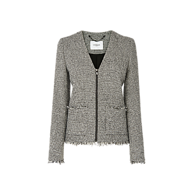Nessa Tweed Zip Jacket, Black/Cream - collar: round collar/collarless; style: boxy; pattern: herringbone/tweed; secondary colour: ivory/cream; predominant colour: black; occasions: work, creative work; length: standard; fit: straight cut (boxy); fibres: wool - mix; sleeve length: long sleeve; sleeve style: standard; collar break: medium; pattern type: fabric; pattern size: standard; texture group: tweed - light/midweight; season: s/s 2016; wardrobe: investment