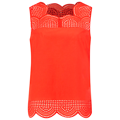 Budding Vest - sleeve style: sleeveless; style: vest top; neckline: sweetheart; predominant colour: bright orange; occasions: casual; length: standard; fibres: cotton - 100%; fit: straight cut; sleeve length: sleeveless; pattern type: fabric; pattern: patterned/print; texture group: jersey - stretchy/drapey; season: s/s 2016; wardrobe: highlight