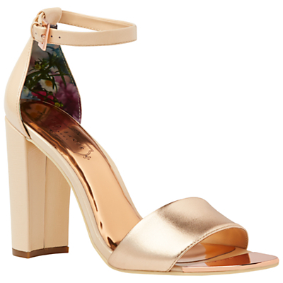 Caiye Block Heeled Sandals - predominant colour: gold; occasions: evening, occasion; material: leather; heel height: high; ankle detail: ankle strap; heel: block; toe: open toe/peeptoe; style: strappy; finish: plain; pattern: plain; season: s/s 2016; wardrobe: event
