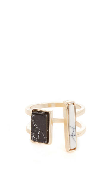 Semi Precious Geo Ring - predominant colour: gold; secondary colour: black; occasions: evening, occasion; style: band; size: large/oversized; material: chain/metal; finish: plain; embellishment: jewels/stone; season: s/s 2016; wardrobe: event