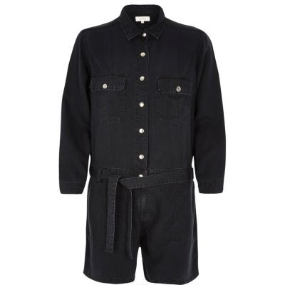 Womens Black Washed Belted Playsuit - neckline: shirt collar/peter pan/zip with opening; pattern: plain; bust detail: pocket detail at bust; waist detail: belted waist/tie at waist/drawstring; length: short shorts; predominant colour: black; fit: straight cut; fibres: polyester/polyamide - 100%; sleeve length: 3/4 length; sleeve style: standard; texture group: crepes; style: playsuit; pattern type: fabric; occasions: creative work; season: s/s 2016; wardrobe: highlight