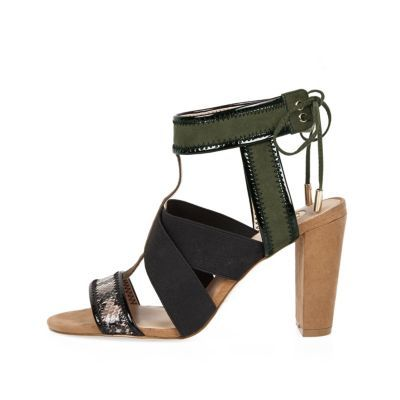 Womens Khaki Cross Over Heel Sandals - predominant colour: black; occasions: evening, occasion; ankle detail: ankle tie; heel: block; toe: open toe/peeptoe; style: strappy; finish: plain; pattern: plain; heel height: very high; material: faux suede; season: s/s 2016; wardrobe: event