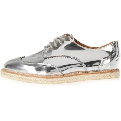 Womens Silver Leather Platform Espadrille Brogues - predominant colour: silver; occasions: casual, creative work; material: faux leather; heel height: flat; toe: round toe; style: brogues; finish: metallic; pattern: plain; season: s/s 2016; wardrobe: basic