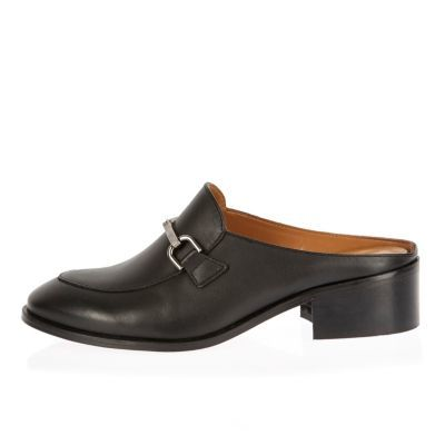 Womens Black Backless Loafers - predominant colour: black; occasions: casual, creative work; material: leather; heel height: flat; embellishment: snaffles; toe: round toe; style: mules; finish: plain; pattern: plain; season: s/s 2016; wardrobe: highlight