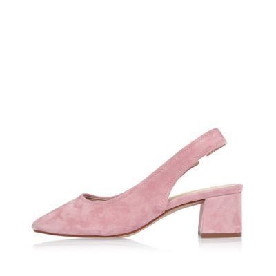 Womens Pink Suede Slingback Court Shoes - predominant colour: pink; material: suede; heel height: mid; heel: block; toe: pointed toe; style: slingbacks; finish: plain; pattern: plain; occasions: creative work; season: s/s 2016; wardrobe: highlight
