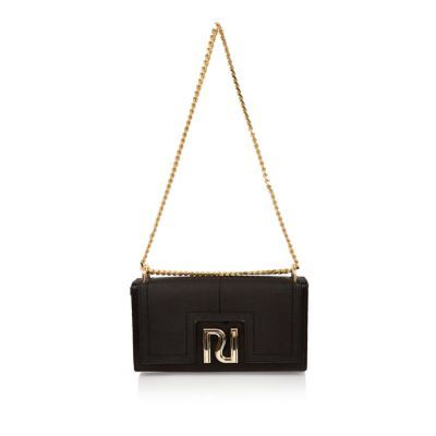 Womens Black Chain Clutch Bag - predominant colour: black; occasions: evening; type of pattern: standard; style: clutch; length: hand carry; size: small; material: faux leather; pattern: plain; finish: plain; season: s/s 2016; wardrobe: event