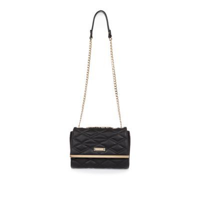 Womens Black Quilted Shoulder Bag - secondary colour: gold; predominant colour: black; occasions: evening, creative work; type of pattern: light; style: shoulder; length: shoulder (tucks under arm); size: small; material: faux leather; embellishment: quilted; pattern: plain; finish: plain; season: s/s 2016; wardrobe: investment