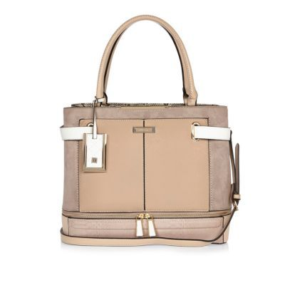 Womens Nude Tote Bag - predominant colour: blush; occasions: casual, work, creative work; type of pattern: standard; style: tote; length: handle; size: standard; material: faux leather; pattern: plain; finish: plain; season: s/s 2016