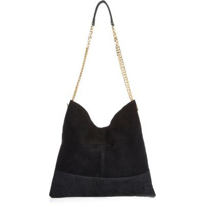 Womens Black Suede Chain Bag - predominant colour: black; occasions: casual, creative work; type of pattern: standard; style: shoulder; length: shoulder (tucks under arm); size: standard; material: suede; pattern: plain; finish: plain; season: s/s 2016; wardrobe: investment