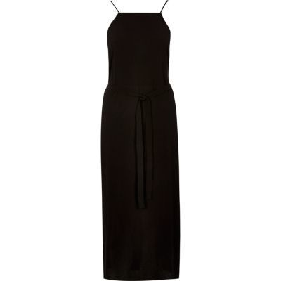 Womens Black Midi Slip Dress - length: calf length; sleeve style: spaghetti straps; pattern: plain; waist detail: belted waist/tie at waist/drawstring; predominant colour: black; occasions: evening, creative work; fit: body skimming; style: slip dress; fibres: polyester/polyamide - 100%; sleeve length: sleeveless; texture group: crepes; neckline: medium square neck; pattern type: fabric; season: s/s 2016; wardrobe: investment