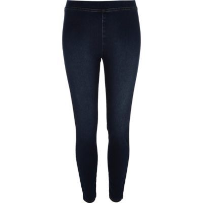 Womens Dark Blue Denim Look Leggings - length: standard; pattern: plain; waist: mid/regular rise; predominant colour: navy; occasions: casual; fibres: cotton - stretch; texture group: denim; fit: skinny/tight leg; pattern type: fabric; style: standard; season: s/s 2016; wardrobe: basic