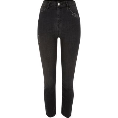 Womens Black Washed High Rise Lori Skinny Jeans - style: skinny leg; length: standard; pattern: plain; waist: high rise; pocket detail: traditional 5 pocket; predominant colour: black; occasions: casual; fibres: cotton - stretch; texture group: denim; pattern type: fabric; season: s/s 2016; wardrobe: basic