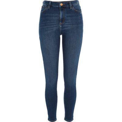 Womens Mid Blue Wash High Rise Molly Jeggings - style: skinny leg; pattern: plain; waist: high rise; predominant colour: denim; occasions: casual; length: ankle length; fibres: cotton - stretch; texture group: denim; pattern type: fabric; season: s/s 2016; wardrobe: basic